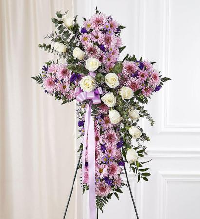 Cross in Lavender & White