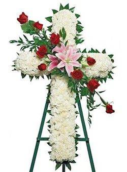 cross on stand funeral