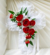Cross Pillow with Roses