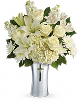 Cross Vase with White Flowers one sided