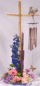 Cross wind chime flower arrangment