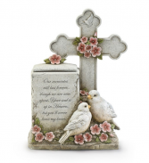 Cross with Bird box remembrance gift  Sympathy stone