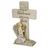 Cross with kneeling Angel Stone Statue