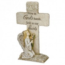 Cross with kneeling Angel Stone Statue