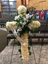 Cross With White Cymbidium Funeral