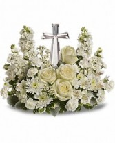 Cross with White Flowers