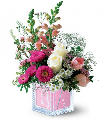 Crystal Baby Block - Baby Pink One-Sided Floral Arrangement