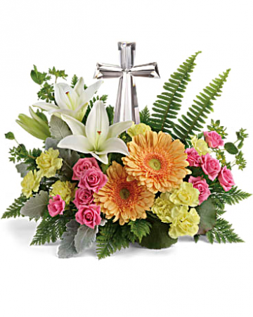 Crystal Cross Arrangement Fresh Flowers