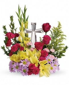 Crystal Cross Arrangement in Warrington, PA | ANGEL ROSE FLORIST INC.