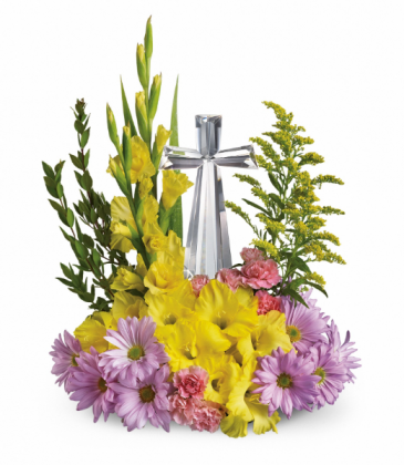 Crystal Cross Bouquet One-Sided Floral Arrangement