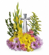 Crystal Cross Bouquet Spring/Sympathy Arrangement