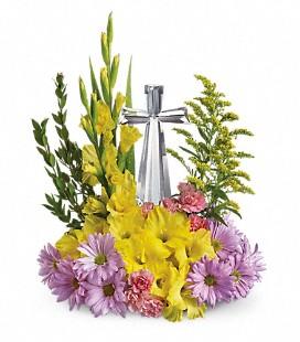 Crystal Cross Bouquet Spring/Sympathy Arrangement