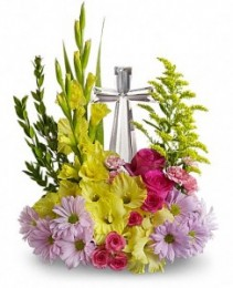 Crystal Cross Bouquet Sympathy