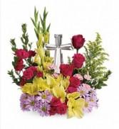 Crystal Cross Bouquet Sympathy