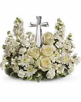 crystal cross floral arrangement