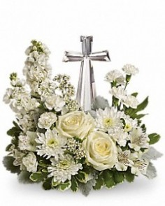Crystal Cross Funeral Arrangement Funeral in Winston Salem, NC | RAE'S NORTH POINT FLORIST INC.