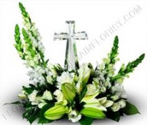 Crystal Cross Funeral Arrangement