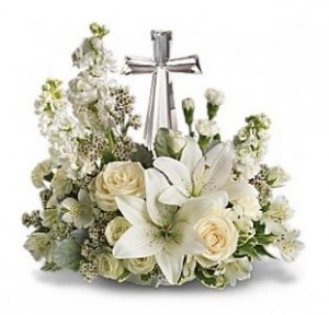Crystal Cross Keepsake Arrangement in Wray, CO | LEIGH FLORAL & GIFT