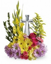 Crystal Cross  Teleflora Tademark Arrangement