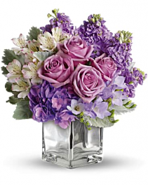 Crystal Lavender And White Flower Arrangement