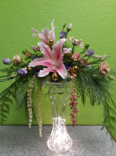 Crystal Lights with Lilies and Roses Table Arrangements
