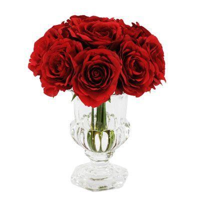 Crystal Pedestal Vase red roses Valentine