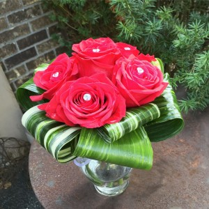 Crystal Roses Roses Collared With Aspidistra Leaves in Elgin, IL | FLORAL EXCELLENCE