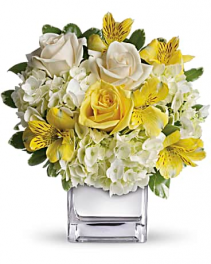 Crystal White And Yellow Flower Arrangement