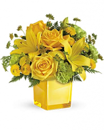 Cube In Green And Yellow Lilies, Roses Flower Arrangement