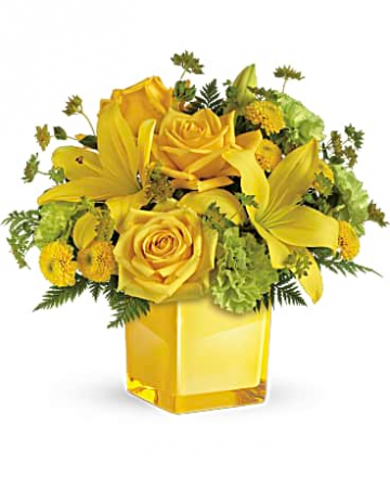 Cube In Green And Yellow Lilies Roses Flower Arrangement In Tulsa