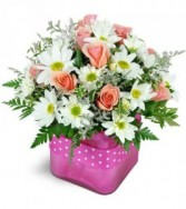 Cubed vase with daises & roses