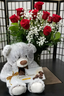 Cuddles Combo Dozen Roses, Bear and Chocolates