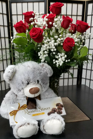 Cuddles Combo Dozen Roses, Bear and Chocolates      in Indianapolis, IN | SHADELAND FLOWER SHOP