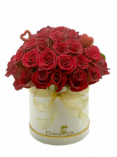 Cup Cake Love Bouquet White Box with Red Roses