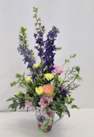 CUP FULL OF LOVE AND BLOOMS FRESH FLOWER ARRANGEMENT/MUG