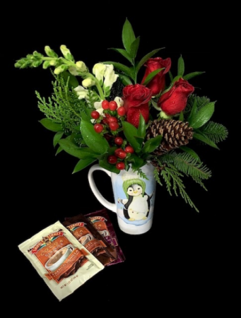 Christmas Mug Red Rose & Hot Chocolates