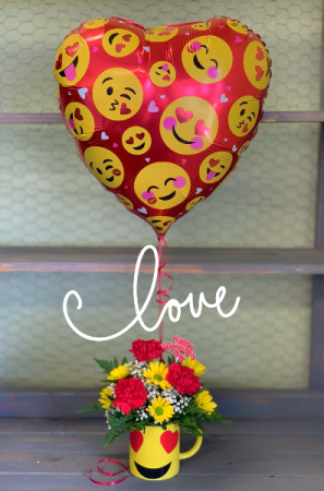 Cup of Love Bouquet Valentine's Day in Clinton, OK | Prairie Sunshine Flowers & Balloons