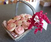 Cupcake Gift  Basket Shown with Raspberry Cream or choose 6  flavors