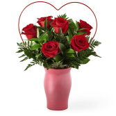 cupid heart red rose bouquet red roses