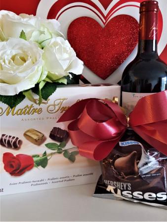 CUPID'S ARROW WINE, CHOCOLATES AND 8 WHITE ROSES