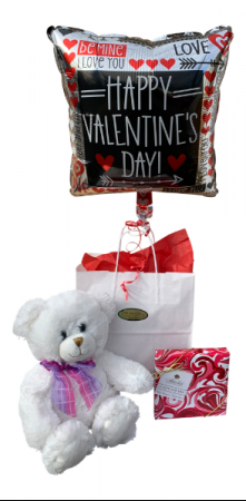 Gift Bag with Teddy Bear, Chocolates and Balloon