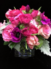 Cupids Choice Lush anemones, ranunculus, roses, and tulips