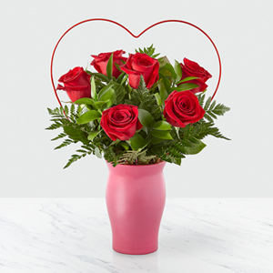 Cupid's Heart Red Rose Bouquet  Floral Arrangement