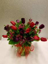 Cupid's Kiss Vase of mixed tulips