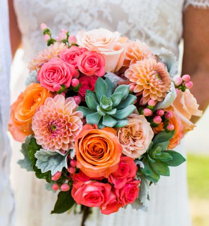 Curious Coral Bridal Bouquet