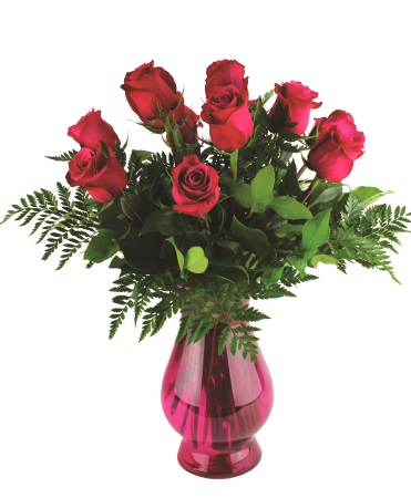 Hot Pink Sunshine Bouquet Roses Arrangement