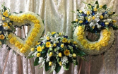 CUSTOM 3 PC YELLOW AND WHITE FUNERAL PACKAGE OPEN HEART, CASKET SPRAY, AND WREATH