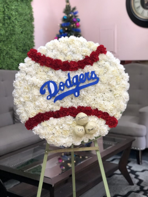 Dodgers Baseball Arrangement Custom Design in Whittier, CA | Rosemantico Flowers