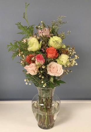 Custom Dozen Roses Vase Arrangement
