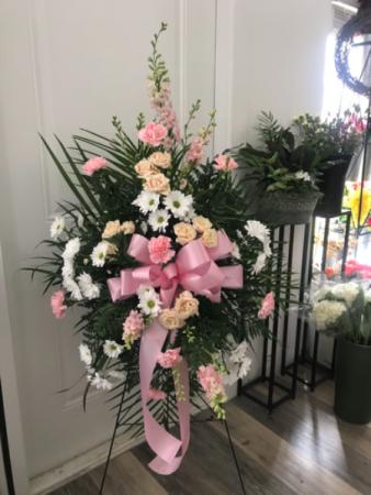 Custom Easel Spray Funeral arrangements